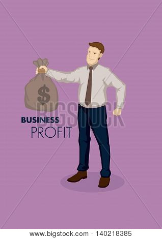 Vector business illustration of cartoon businessman character holding bag of money with text business profit. Concept profitability isolated on plain purple background.