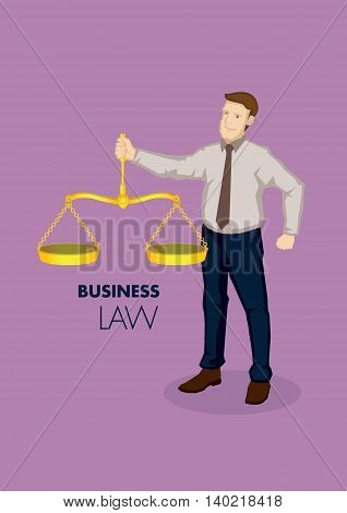 Vector business illustration of cartoon business professional character holding vintage golden balancing weighing scale metaphor for business law.