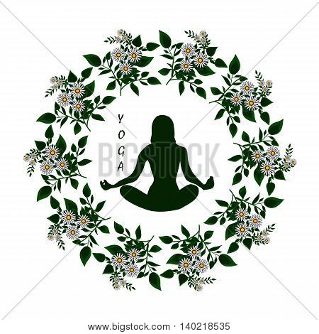 Sticker or logo for yoga and healthy lifestyle on the spring or summer theme. Silhouette in the mandala of the chamomiles