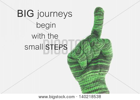 Word  Big Journeys Begin With The Small Steps.inspirational Motivational Quote On Green Woven Gloves