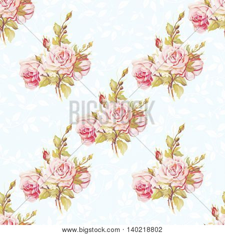 Seamless floral pattern with pink roses Vector Illustration EPS8