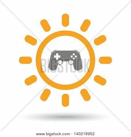 Isolated Line Art Sun Icon With  A Game Pad