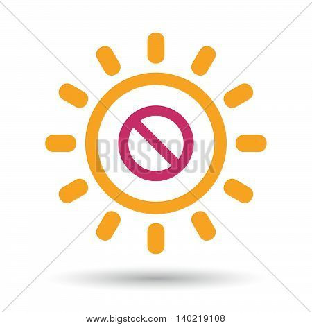 Isolated Line Art Sun Icon With  A Forbidden Sign