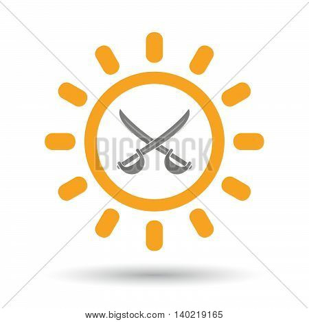 Isolated Line Art Sun Icon With  Two Swords Crossed