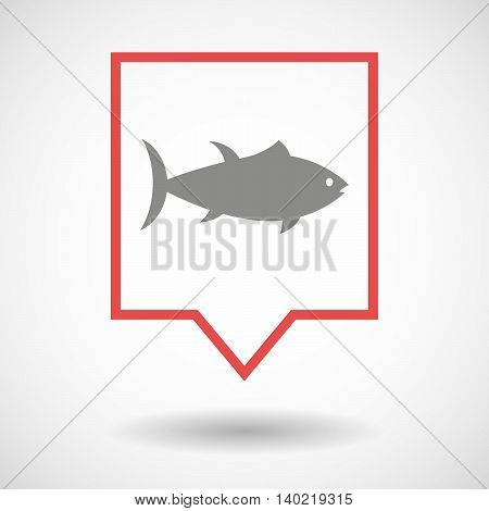 Isolated Line Art Tooltip Icon With  A Tuna Fish
