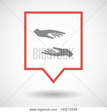 Isolated Line Art Tooltip Icon With  Two Hands Giving And Receiving  Or Protecting