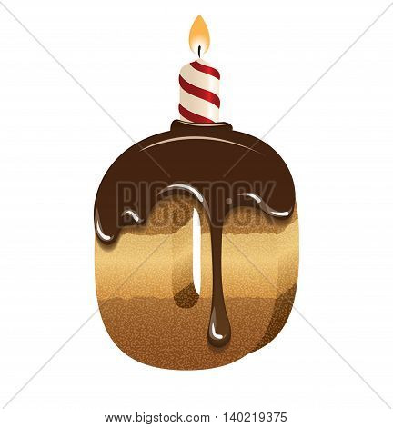 Cake font -number zero - 3d -with candle, vector image