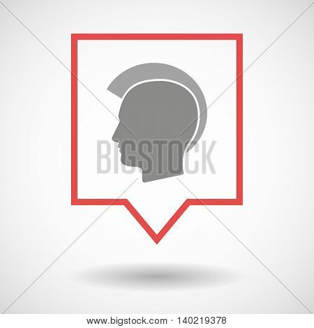 Isolated Line Art Tooltip Icon With  A Male Punk Head Silhouette