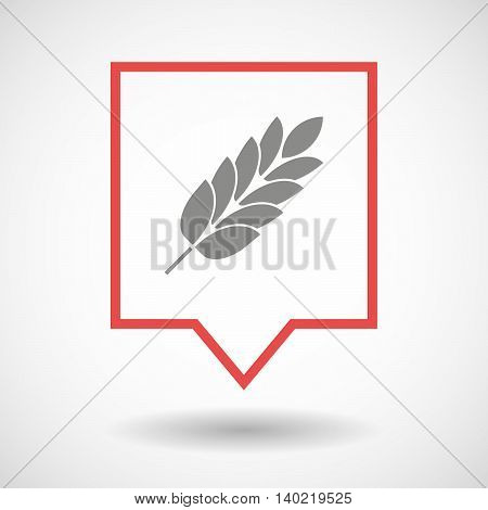 Isolated Line Art Tooltip Icon With  A Wheat Plant Icon