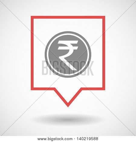 Isolated Line Art Tooltip Icon With  A Rupee Coin Icon