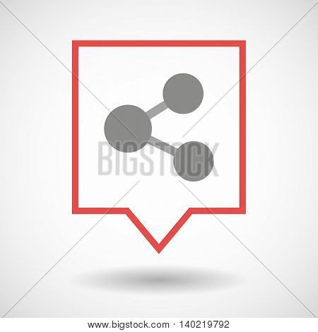 Isolated Line Art Tooltip Icon With  A Network Sign