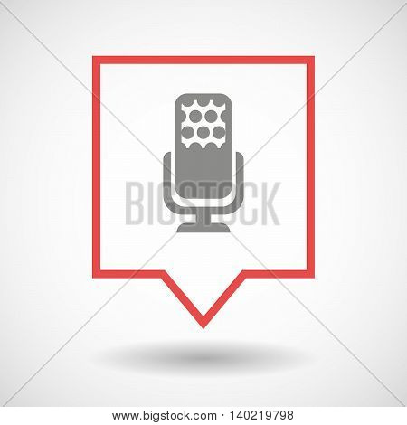 Isolated Line Art Tooltip Icon With  A Microphone Sign