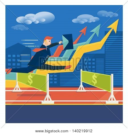 Young businessman or broker jumping over career obstacles. Success in business concept. Vector illustration