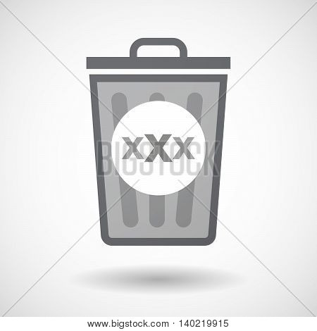 Isolated Trash Can Icon With  A Xxx Letter Icon