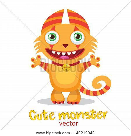 Cute Happy Kitty. Colorful Vector Illustration. Lucky Cartoon Mascot. Funny Theme For Kids T-Shirt Design. Monsters University.