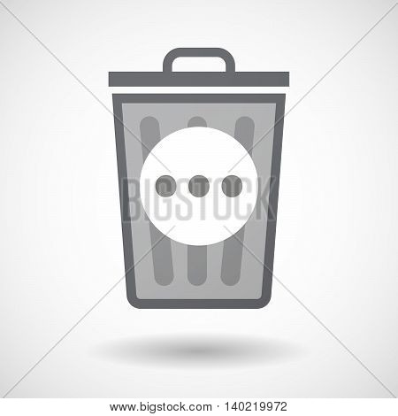 Isolated Trash Can Icon With  An Ellipsis Orthographic Sign