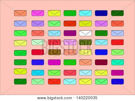 illustration which shows the little colored envelopes for light backgrounds