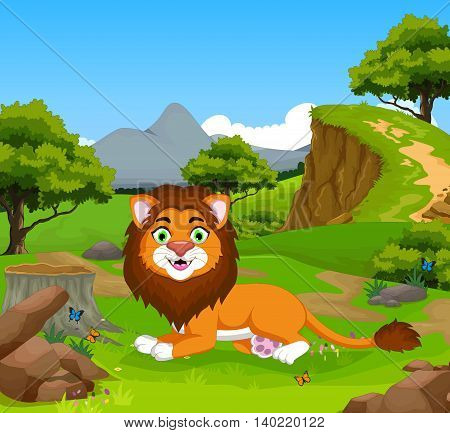 funny lion cartoon in the jungle with landscape background