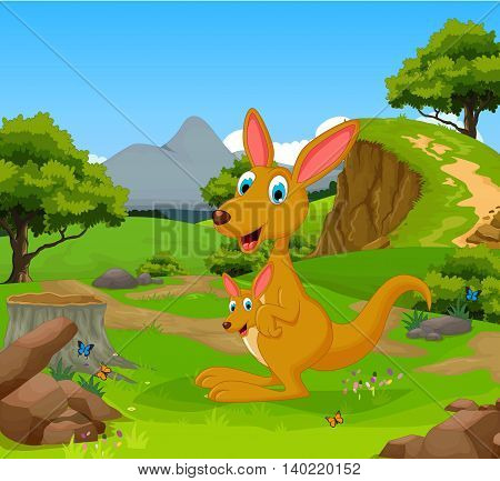 funny kangaroo cartoon in the jungle with landscape background