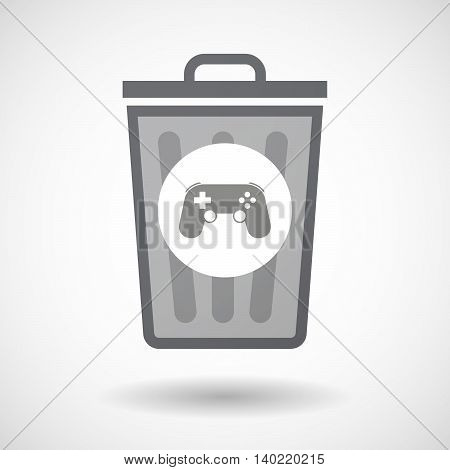 Isolated Trash Can Icon With  A Game Pad