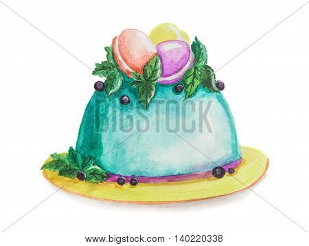 Isolated watercolor blue cake on white background. Holiday cake for celebration or a meal in restaurant menu.