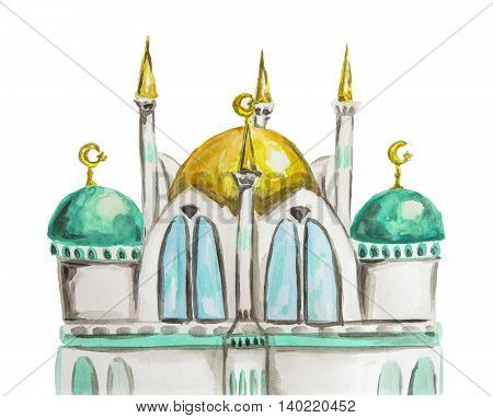 Ramadan Kareem Hand drawn watercolor mosque silhouette. Isolated on white