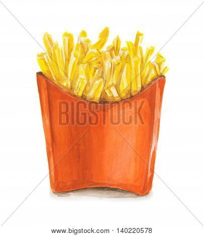 Watercolor french fries. Isolated red pocket of french fries. Unhealthy junk food con cept. Fast food chain, restaurant.