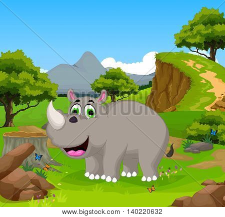 funny rhino cartoon in the jungle with landscape background