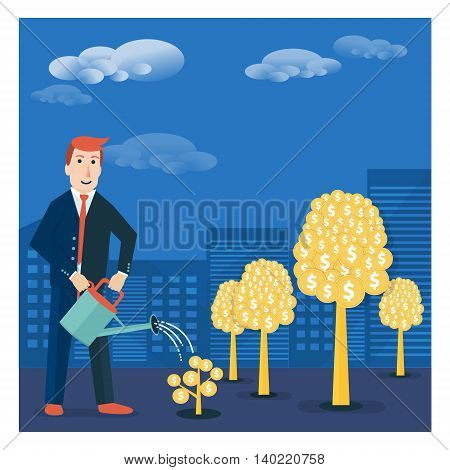 Businessman or broker watering golden tree offspring. Vector money-making or startup business concept design