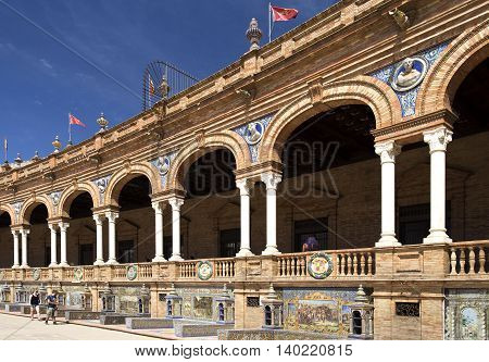 SEVILLE, SPAIN - September 13, 2015: Detail of the many tiled Provincial Alcoves along the walls of the Plaza de Espana (Spain Square) on September 13, 2015 in Seville, Spain
