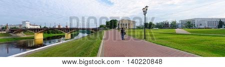 VITEBSK BELARUS - JULY 13 2016: Panoramic view of Kirovsky bridge across the Western Dvina and the Millennium Square of Vitebsk summer morning Vitebsk Belarus