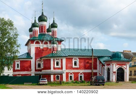 UGLICH RUSSIA - JULY 19 2016: Church of icon of Mother of God Smolensk in Epiphany Monastery Uglich Russia