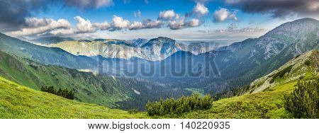 Panoramic View Of Summer Slovak West Tatras Mountains