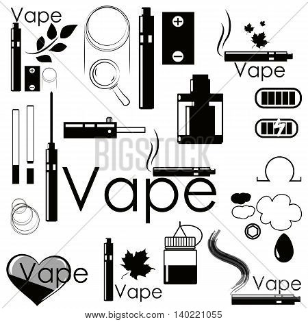 Set stickers and accessories for vaping. Can be used as logo