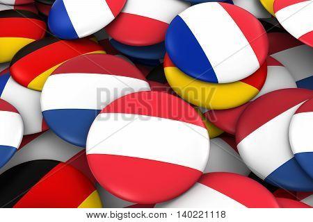 Netherlands, Austria, Germany And France Flag Badge Pile Background 3D Illustration
