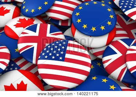 American, British, Canadian And European Flag Badge Pile Background 3D Illustration