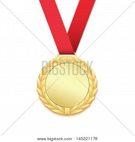 Gold medal, winners award isolated on white background. Vector illustration.