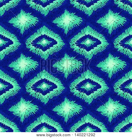 Aztec Ethnic Tribal Ornament Pattern Blue