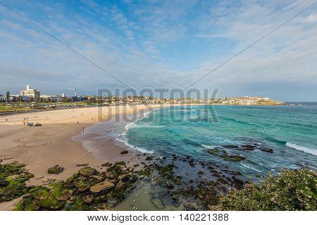 Wide shot of the Bondi beach in the Eastern suburbs of Sydney Australia