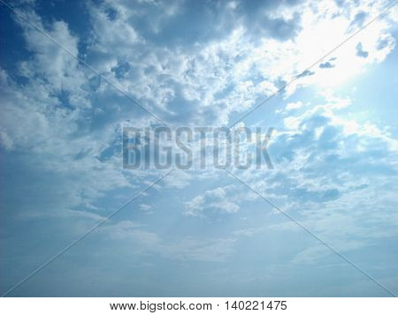 White clouds floating in the clear sky