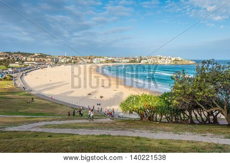 Sydney Australia - November 26 2014: Iconic Bondi Beach in the Eastern Suburbs Sydney New South Wales Australia.