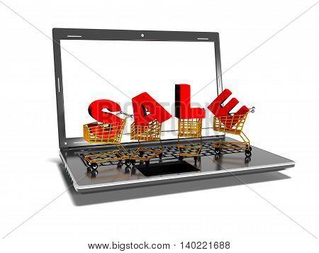 laptop, shopping carts, sale internet trade concept