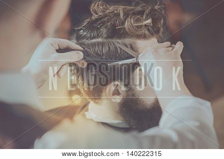 Start changing right now. Inspiration words on hairdressers hands with scissors background