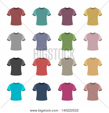 Set of sixteen in a flat style color t-shirts isolated on white background design element outerwear and article of clothing a set of the first vector illustration.