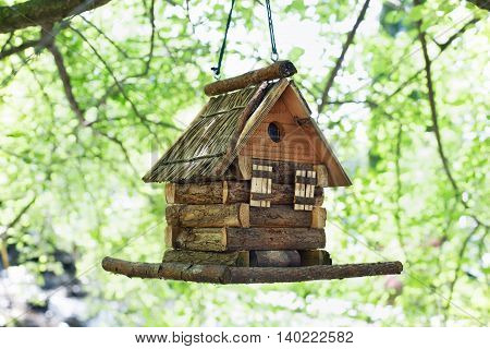 Starling house for birds on tree in summer park. Decorative birds wooden small house outdoors
