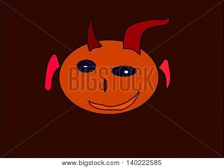 illustration which shows a good monster on a black background