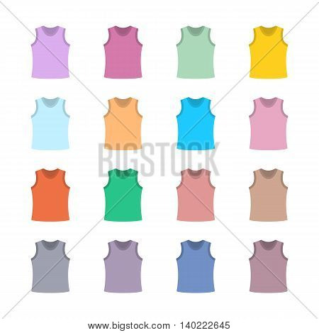 Set of sixteen in a flat style color tank top isolated on white background design element outerwear and article of clothing first set vector illustration.