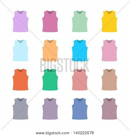 Set of sixteen in a flat style color tank top isolated on white background design element outerwear and article of clothing third set vector illustration.