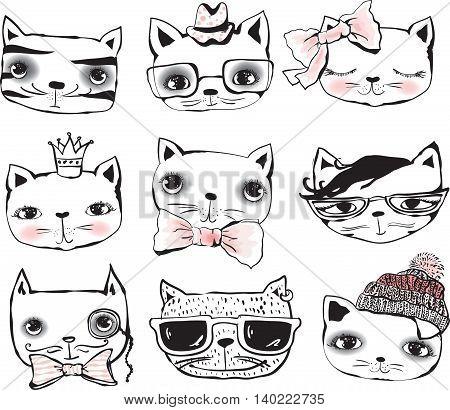 Set of cute cats portraits, vector illustration