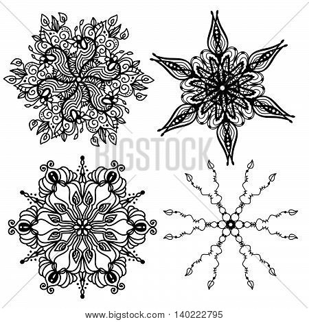 Black ornament collection isolated over white background